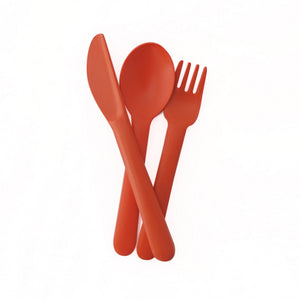 echo kids bamboo cutlery set in persimmon