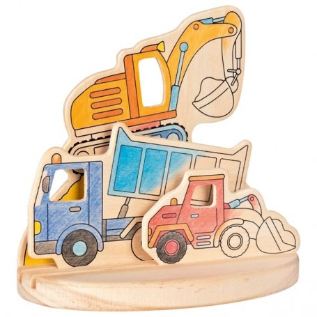 goki wooden coloring picture construction vehicles