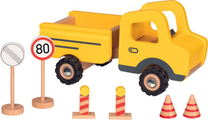 Goki Construction Site Vehicle with Traffic Signs - Smallkind