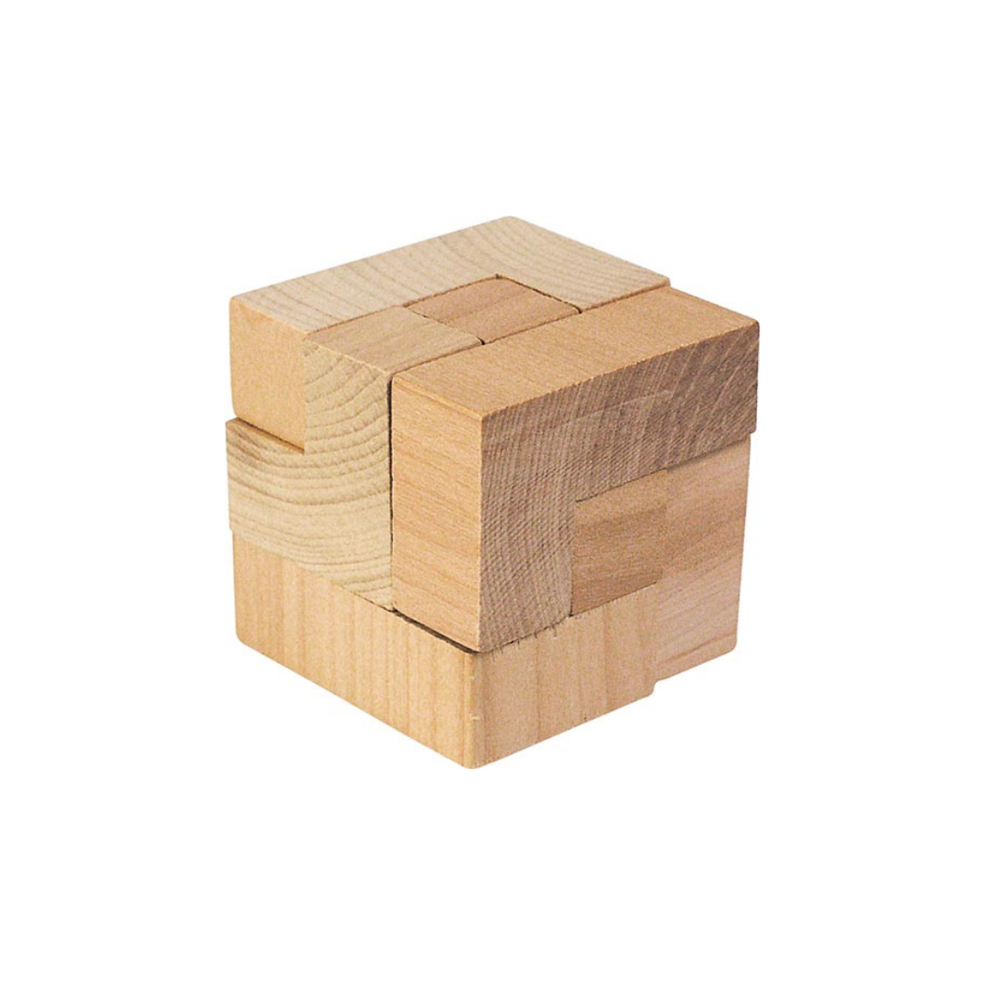 goki wooden magic cube puzzle in a cotton bag