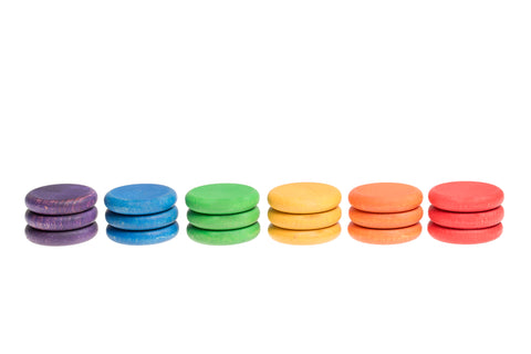 grapat 18 wooden coins in rainbow colours