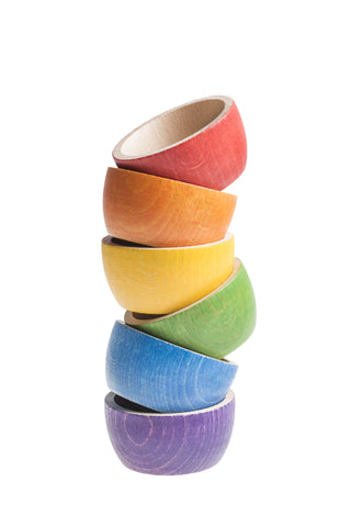 grapat six wooden rainbow bowls
