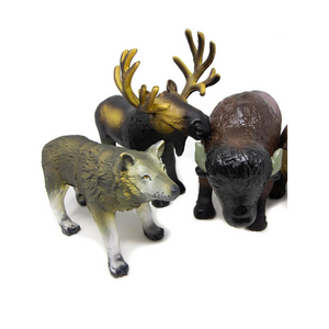 green rubber toys north american animals