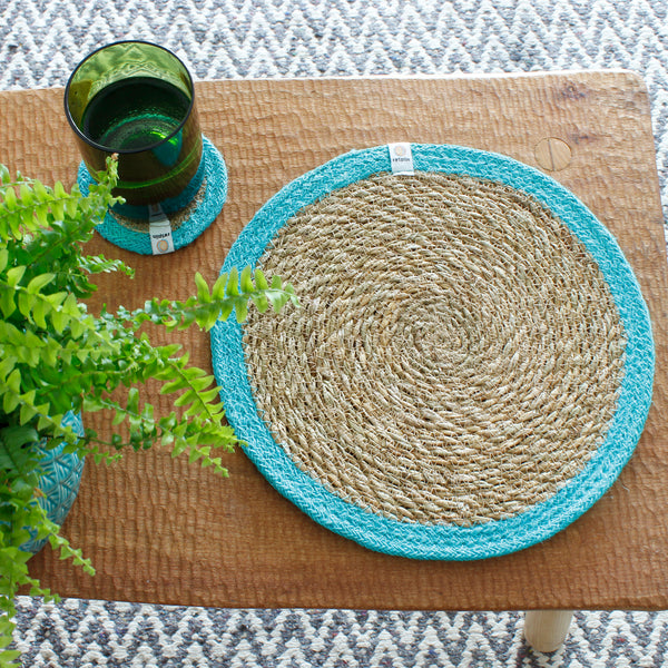 respiin jute and seagrass table mat turquoise