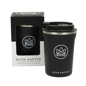 neon kactus insulated coffee cup in black - surfer dude