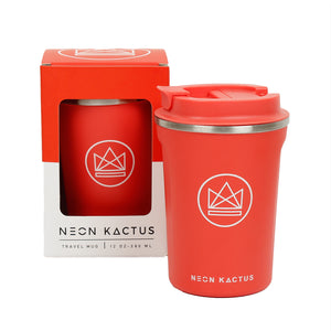 neon kactus insulated coffee cup in coral - Coral Reef