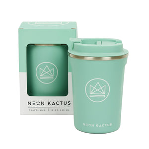 neon kactus insulated coffee cup in turquoise - make waves