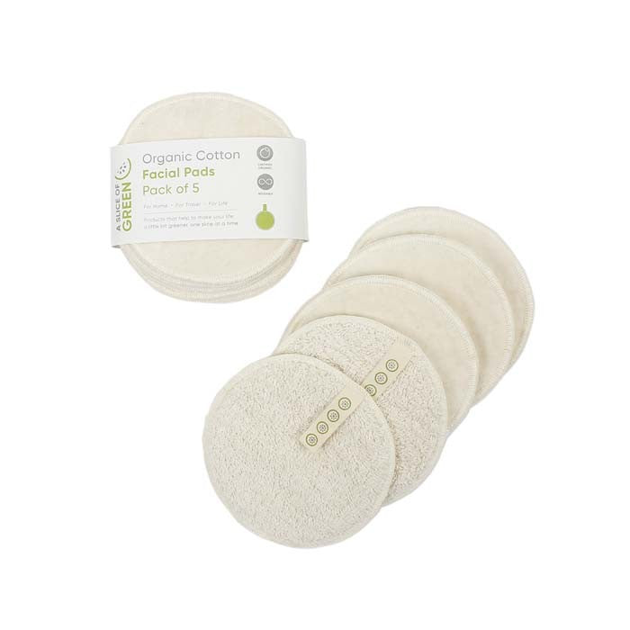 Organic Cotton Reusable Facial Pads - Pack of 5 - Smallkind