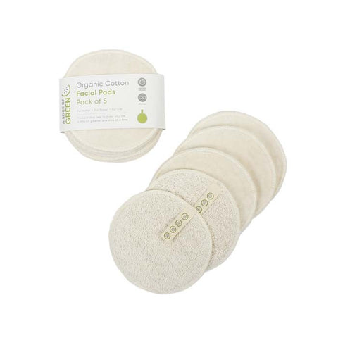 Organic Cotton Reusable Facial Pads - Pack of 5