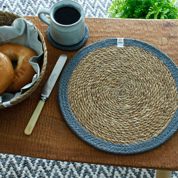 respiin jute and seagrass table mat grey