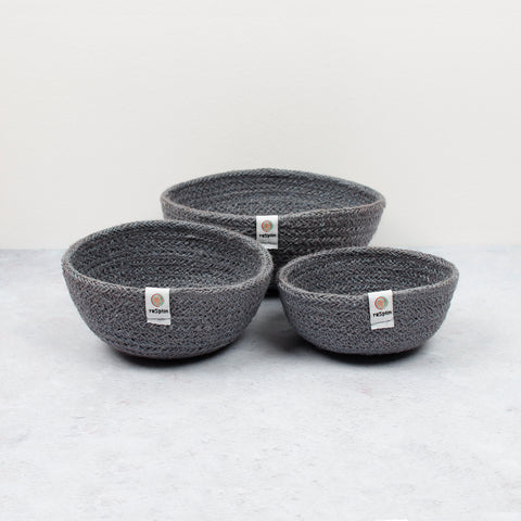 respiin jute mini bowl set - grey