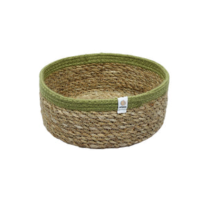 Shallow Jute + Seagrass Basket - Medium - Green - Smallkind