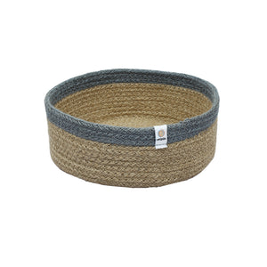 respiin shallow jute basket - medium - natural grey