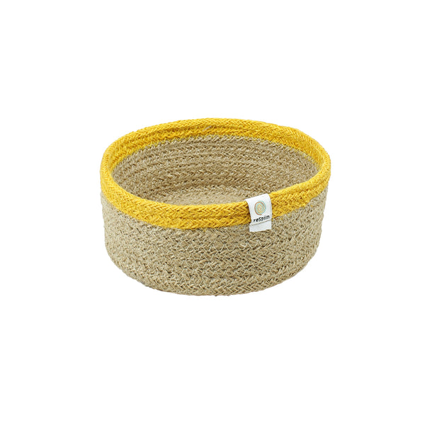 Shallow Jute  Basket - Small - Yellow - Smallkind
