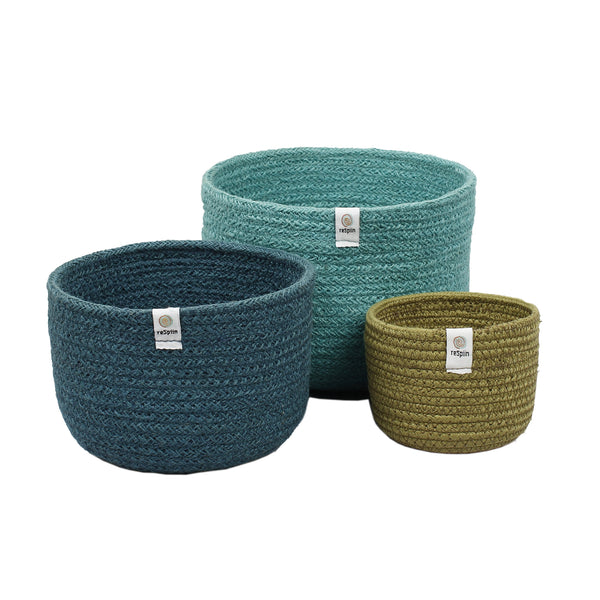 respiin jute bowls set of three tall baskets in ocean blues