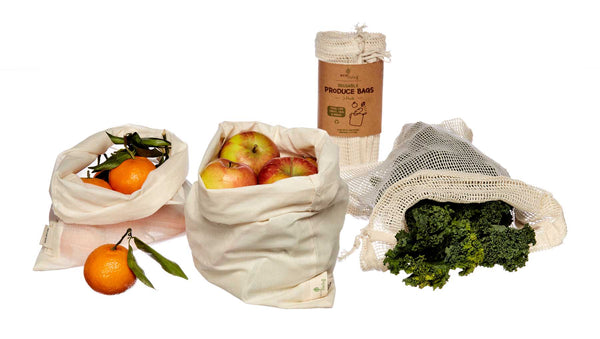 organic cotton produce bags for plastic free shopping