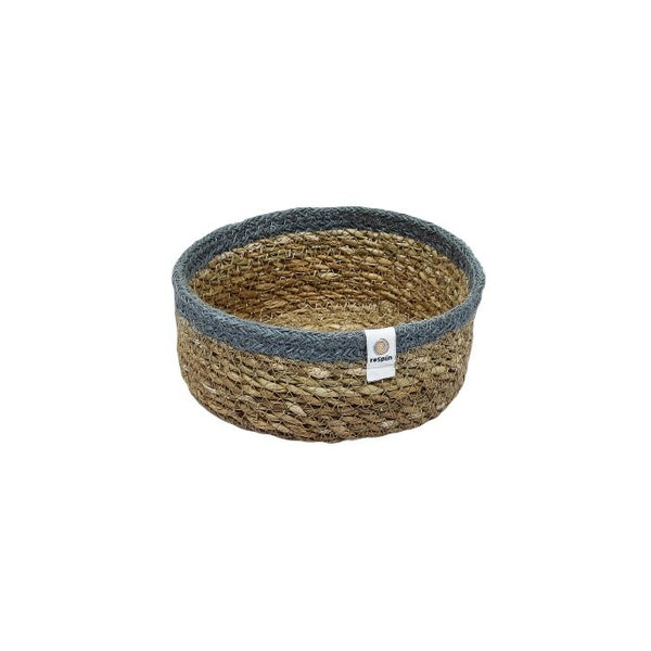 Shallow Seagrass  + Jute  Basket - Small Grey - Smallkind