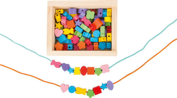 Small Foot Creative Threads Beading Set - wooden box filled with wooden beads and cords