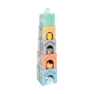 Small Foot Pastel Stacking Cubes with wooden animals