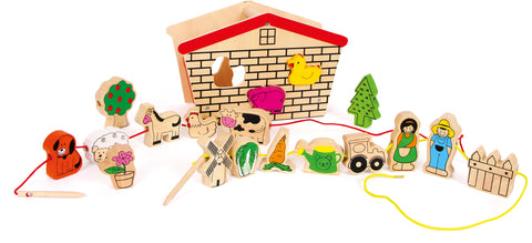 Small Foot Farm Threading Play Set with wooden barn
