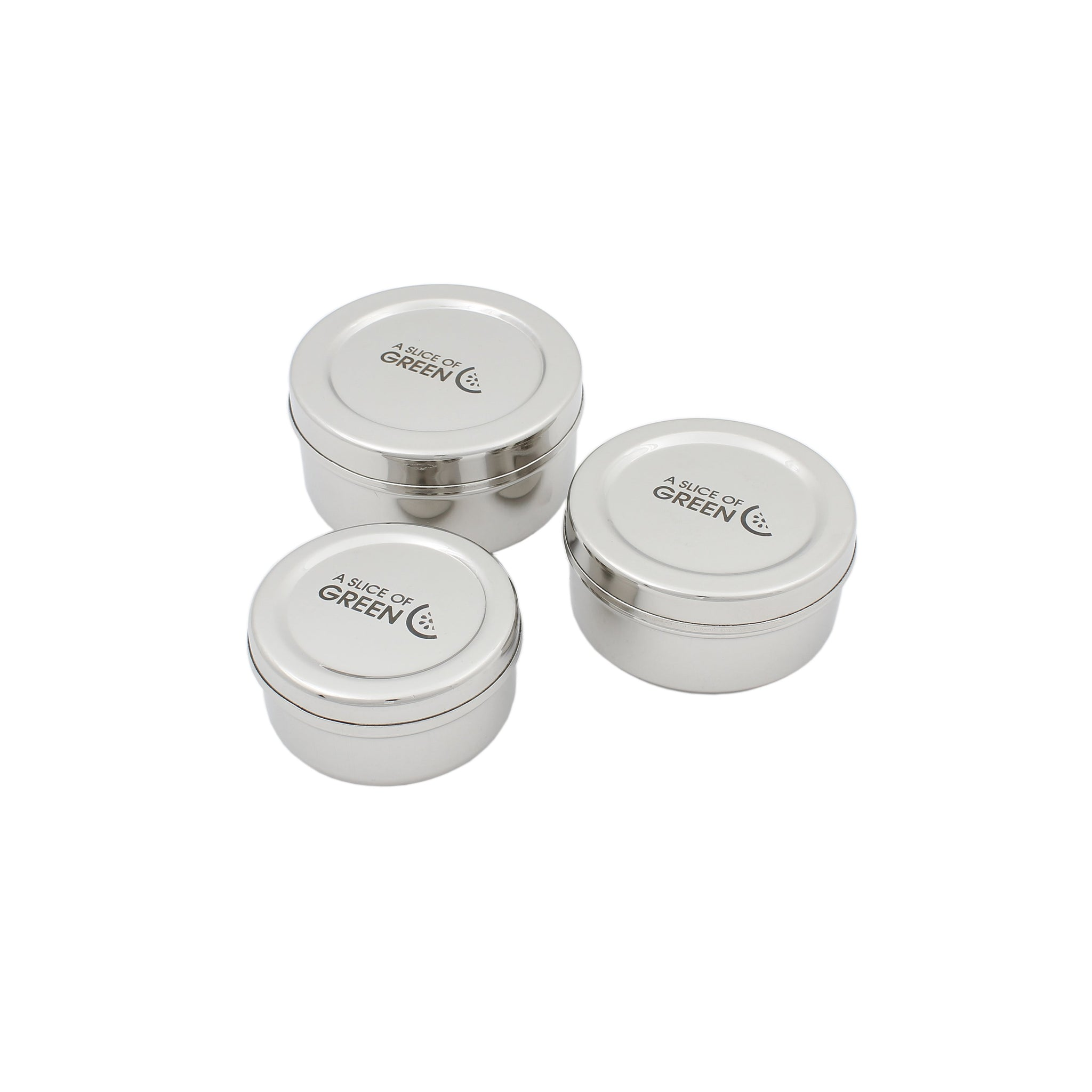 Set of Three Stainless Steel Storage Containers - Smallkind