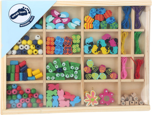 Small Foot Deluxe Threading Beads Crafting Set in wooden box