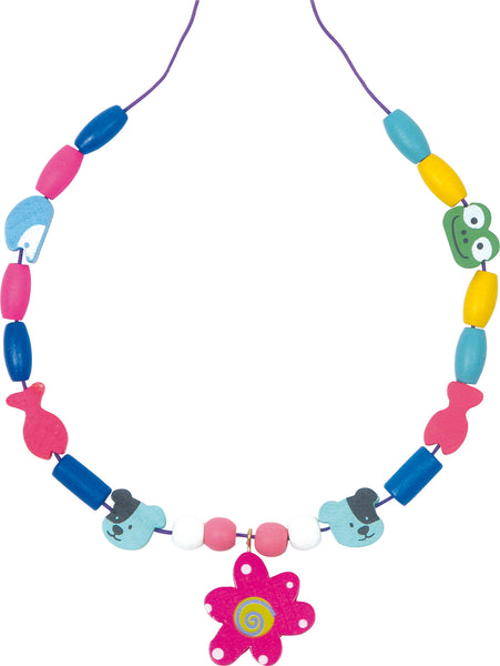 colourful necklace made with wooden beads from small foot jewellery making set