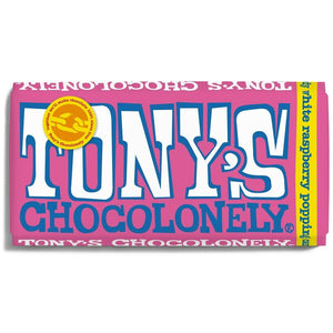 Tony's Chocolonely White Chocolate - Raspberry Popping Candy