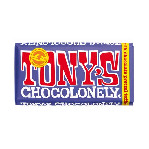 tonys chocolonely dark milk chocolate with pretzel and toffee