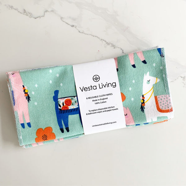 vesta living cloth wipes in animal print