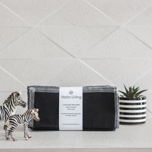 vesta living black reusable baby wipes
