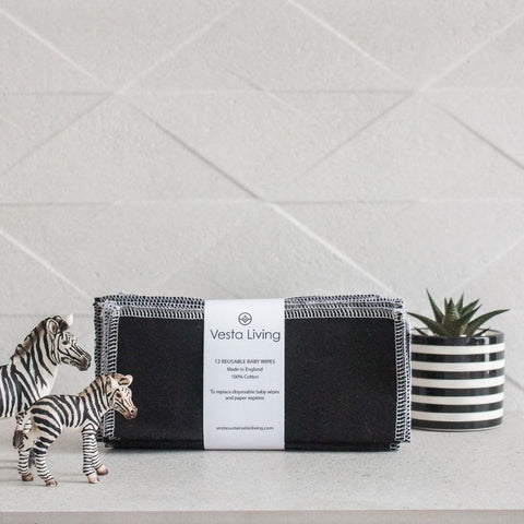 Reusable Cotton Baby Wipes - Black - Smallkind