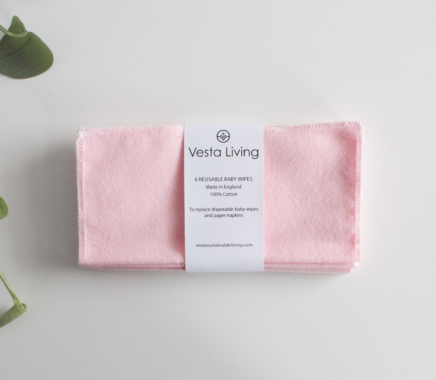 vesta living cotton baby wipes in blush pink