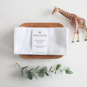 Reusable Cotton Baby Wipes - White - Smallkind