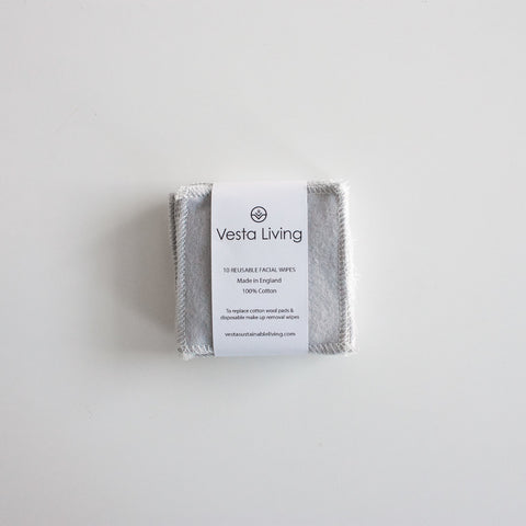 vesta living reusable face wipes in grey