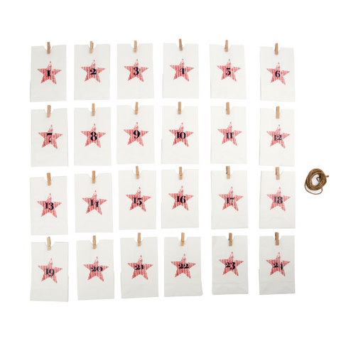 Reusable Advent Calendar - Red Stars