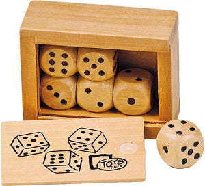 Loki dice set. Six wooden dice in a wooden box.