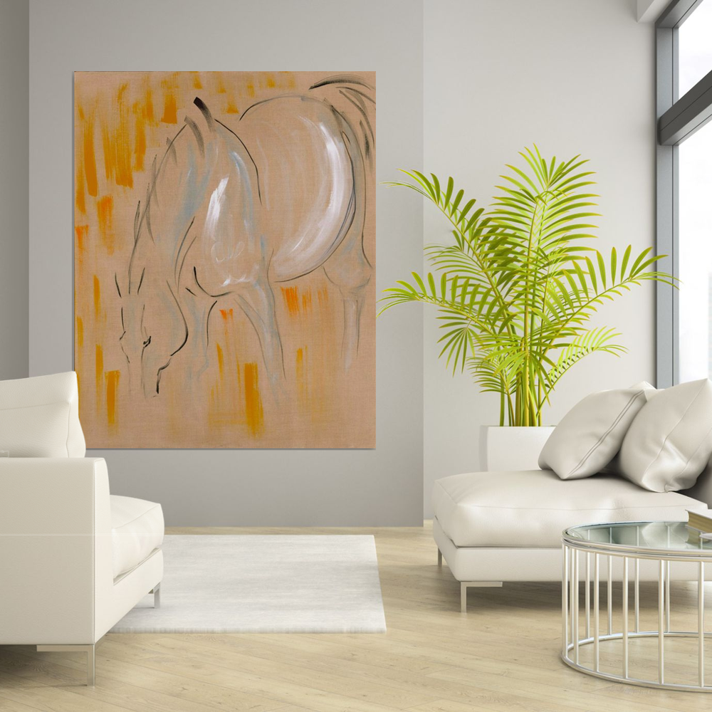 on the wall, horse art in situ, large horse art, horse grazing, pastoral scene, equestrian horses in the field, modern horse art, contemporary horse art, minimal horse art, ink and acrylics, painting on raw linen, mixed media horse art, abstract horse painting, unique original art, textured art, wall decor, epstein chic, ancient horses, eohippus, cave art, cave wall art, cave style, acrylics art, modern style horse, contemporary art
