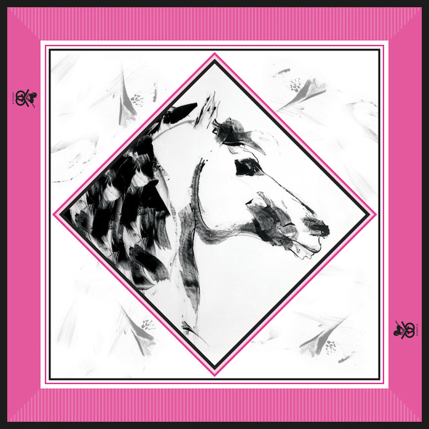 Equestrian Silk Scarf - Pink Power Mini