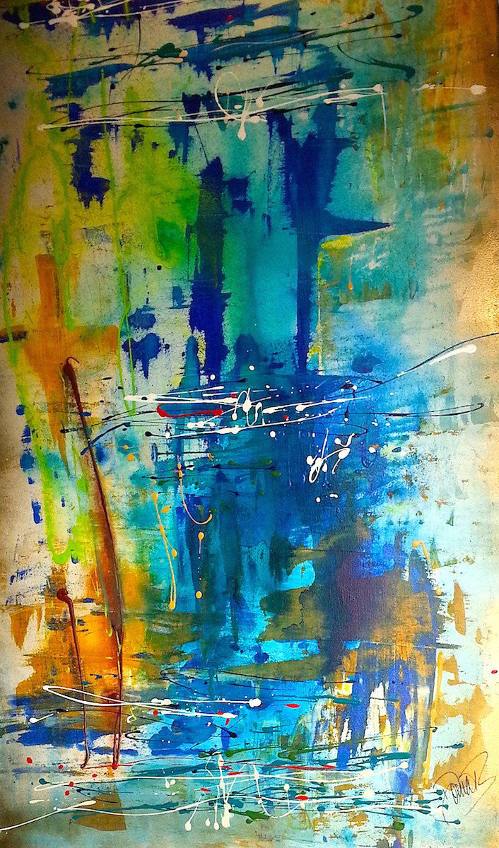 abstract, blue, blue painting, modern abstract, abstract landscape, textured art, gold and blue art, large blue painting
