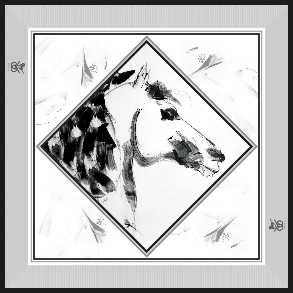 Equestrian Silk Scarf - Checkmate Black & White