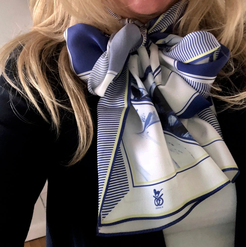 Checkmate Blue & Gold Equestrian Silk Scarf