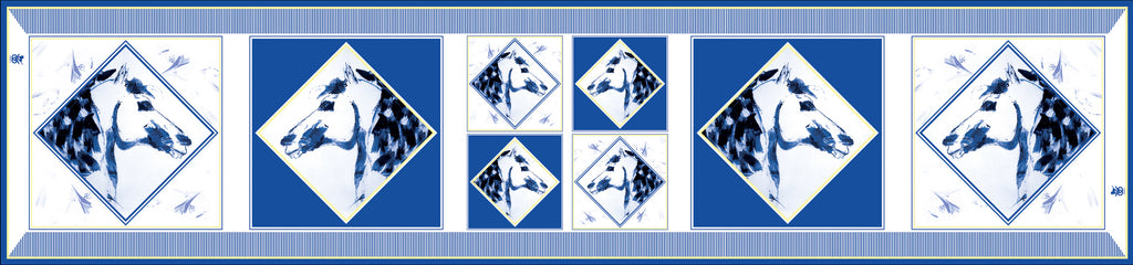 Equestrian Silk Scarf - Checkmate Blue & Gold Long