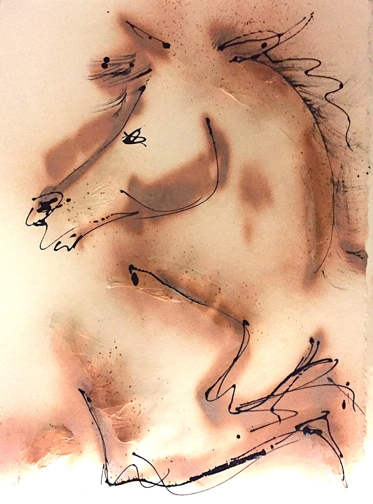 work on paper, ink horse painting, frame in your style, original art, bronze painting, modern horse, contemporary horse painting, equine art for contemporary collectors