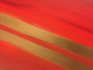 red, red abstract, gold abstract painting, abstract art for sale, red and gold art