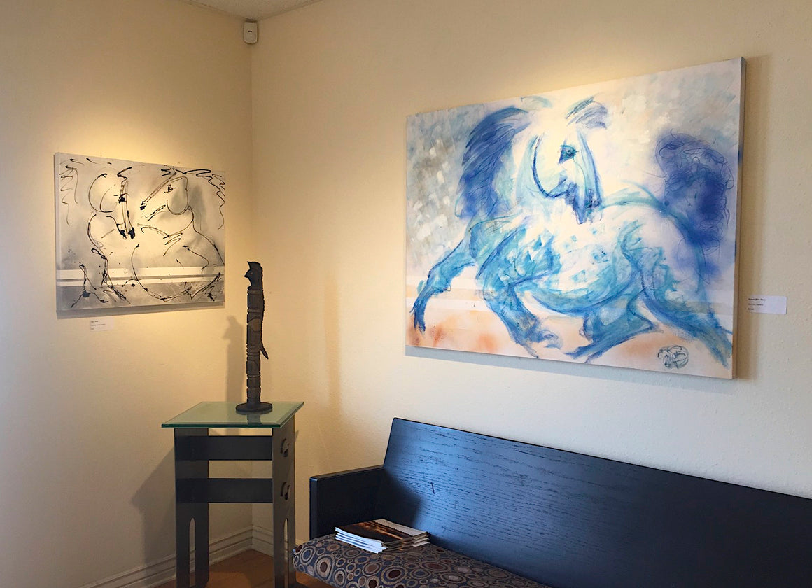 wild blue horses, desert horse, wilderness horse, horse in the desert, colorful abstract horse painting, movement fun and horse energy, stylized interior designer art for home or office, wall decor, equines, horses, equestrians, running horses, horseback riding