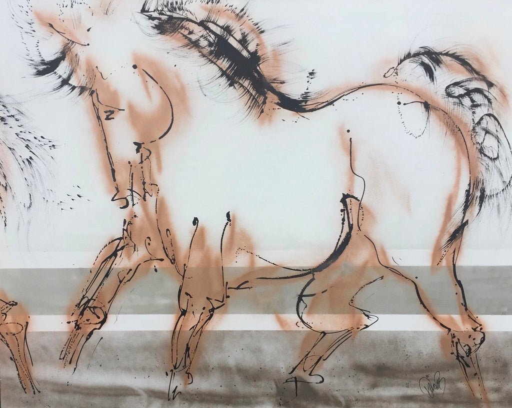 a large scale horse painting that becomes a dynamic focus and point of attention in your home - designer style art for modern equestrians.
