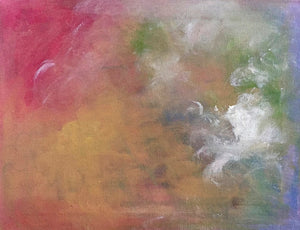 red sky, gold sky, white clouds, meditative art, small painting, small art for sale,  abstract art, oils, mixed media