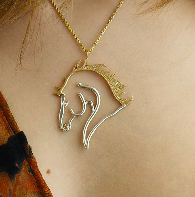 Sun Stallion Gold & Silver Pendant  with Diamonds!