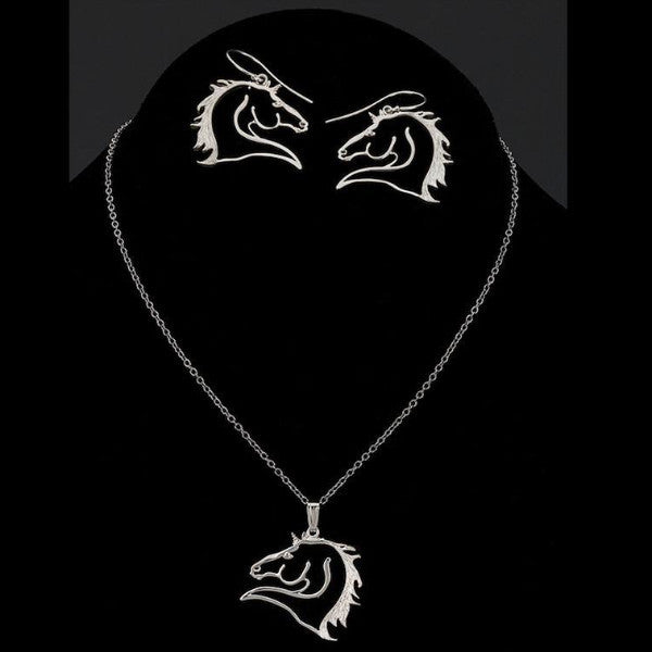 Silver Charm Equestrian Jewelry Set